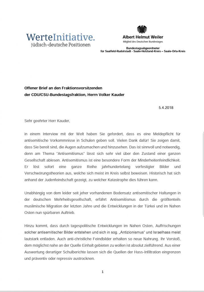Offener Brief An Volker Kauder Fraktionsvorsitzender Der Cducsu