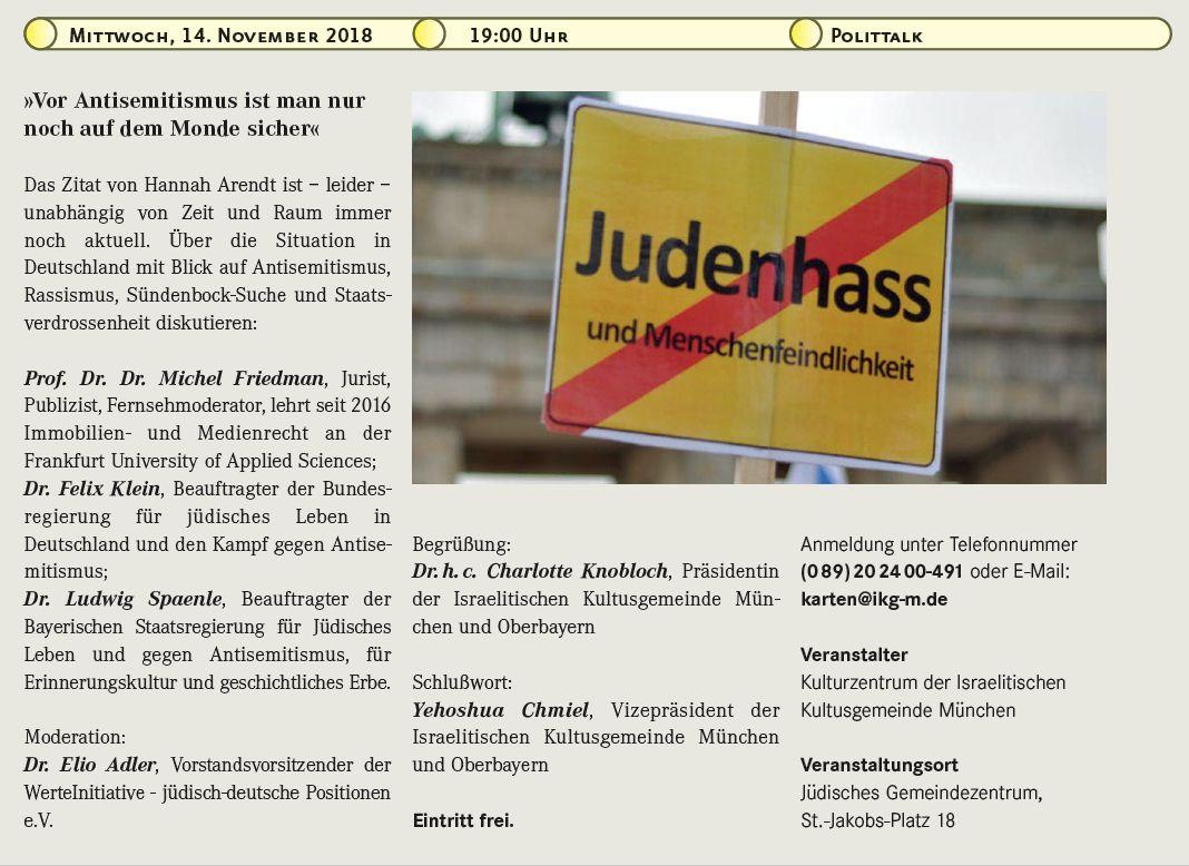 Die WerteInitiative zu Gast in München: Gesprächsabend über Judenfeindlichkeit und Rassismus heute
