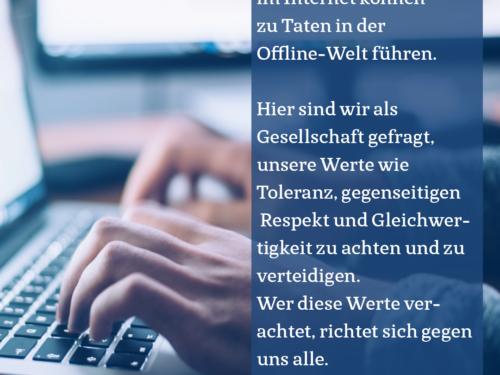 Damit aus Online nicht Offline wird: gegen Hass im Netz!
