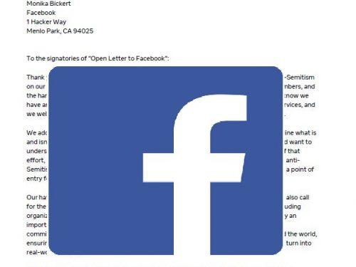 Antwort von Facebook auf unseren offenen Brief - zusammen mit über 125 anderen - meist jüdischen - Organisationen